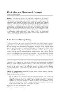 Physicalism and Phenomenal Concepts