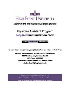 Physician Assistant Program Required Immunization Form