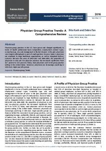 Physician Group Practice Trends: A Comprehensive Review