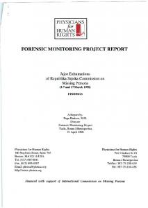 PHYSICIANS HUMAN RIGHTS FORENSIC MONITORING PROJECT REPORT