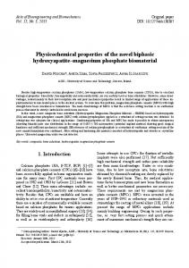 Physicochemical properties of the novel biphasic hydroxyapatite magnesium phosphate biomaterial