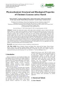Physicochemical, Structural and Rheological Properties of Chestnut (Castanea sativa) Starch