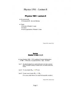 Physics 1501 Lecture 8