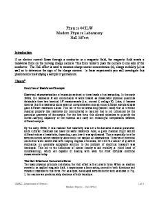 Physics 445LW Modern Physics Laboratory Hall Effect