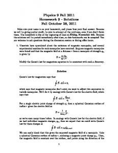 Physics 9 Fall 2011 Homework 9 - Solutions Fall October 28, 2011