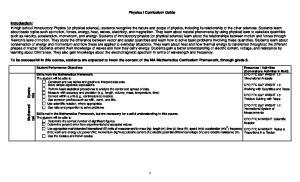 Physics I Curriculum Guide