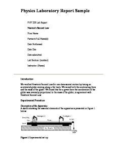 Physics Laboratory Report Sample