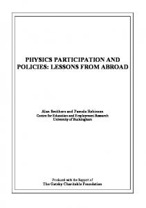 PHYSICS PARTICIPATION AND POLICIES: LESSONS FROM ABROAD
