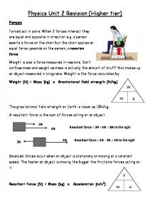 Physics Unit 2 Revision (Higher tier)