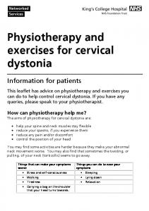 Physiotherapy and exercises for cervical dystonia