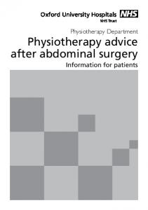 Physiotherapy Department Physiotherapy advice after abdominal surgery