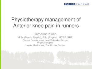 Physiotherapy management of Anterior knee pain in runners