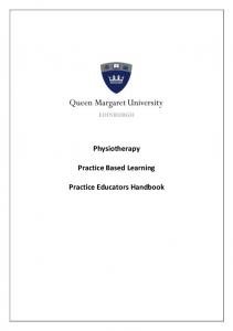 Physiotherapy. Practice Based Learning. Practice Educators Handbook