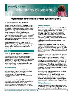 Phytotherapy for Polycystic Ovarian Syndrome (PCOS)
