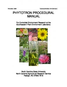 PHYTOTRON PROCEDURAL MANUAL