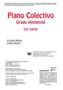Piano Colectivo. Grado elemental. 1er curso. Cristina Molina Emilio Molina