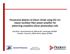 Picosecond ablation of silicon nitride using 532 nm master oscillator fiber power amplifier for patterning crystalline silicon photovoltaic cells