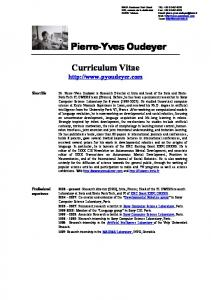 Pierre-Yves Oudeyer. Curriculum Vitae  Short Bio. Professional experience