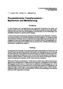 Piezoelektrische Transformatoren Bauformen und Modellierung