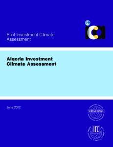 Pilot Investment Climate Assessment. Algeria Investment Climate Assessment