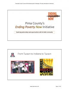 Pima County s Ending Poverty Now Initiative