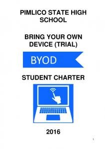 PIMLICO STATE HIGH SCHOOL BRING YOUR OWN DEVICE (TRIAL) STUDENT CHARTER