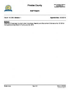 Pinellas County. Staff Report