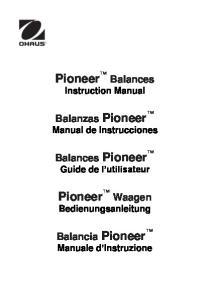 Pioneer Balances Instruction Manual
