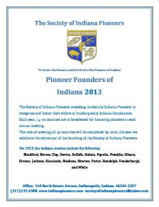 Pioneer Founders of Indiana 2013
