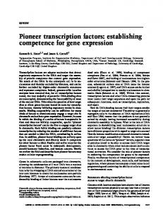 Pioneer transcription factors: establishing competence for gene expression