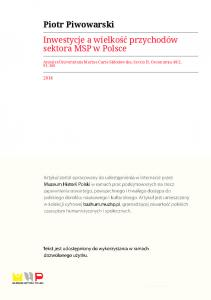 Piotr Piwowarski Inwestycje a wielkość przychodów sektora MSP w Polsce