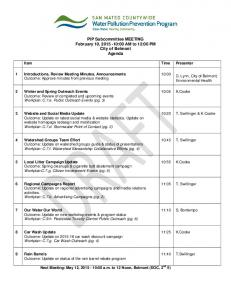PIP Subcommittee MEETING February 10, :00 AM to 12:00 PM City of Belmont Agenda