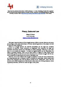 Piracy, Code and Law