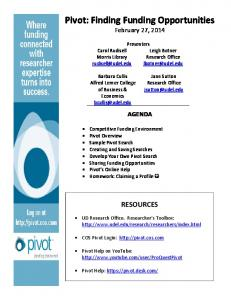 Pivot: Finding Funding Opportunities February 27, 2014