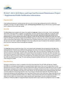 PJ 2267: Slurry and Cape Seal Pavement Maintenance Project - Supplemental Public Notification Information