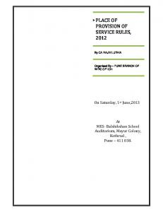 PLACE OF PROVISION OF SERVICE RULES, 2012