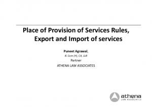 Place of Provision of Services Rules, Export and Import of services
