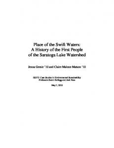 Place of the Swift Waters: A History of the First People of the Saratoga Lake Watershed