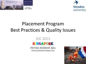 Placement Program Best Practices & Quality Issues