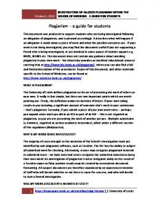 Plagiarism a guide for students