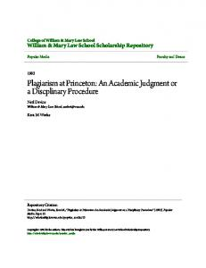 Plagiarism at Princeton: An Academic Judgment or a Discplinary Procedure