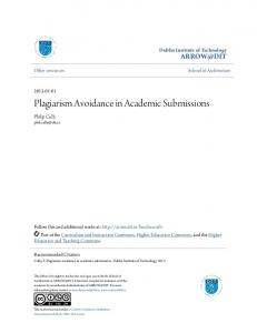 Plagiarism Avoidance in Academic Submissions