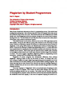 Plagiarism by Student Programmers