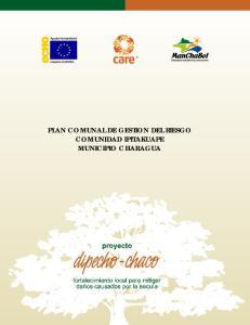 PLAN COMUNAL DE GESTION DEL RIESGO COMUNIDAD IPITAKUAPE MUNICIPIO CHARAGUA