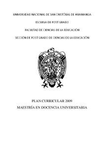 PLAN CURRICULAR 2009 MAESTRÍA EN DOCENCIA UNIVERSITARIA