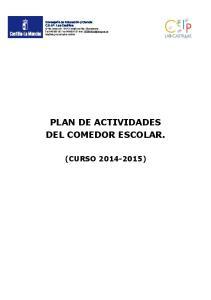 PLAN DE ACTIVIDADES DEL COMEDOR ESCOLAR
