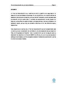 Plan de Autoprotección de una Industria Mediana Página 1 RESUMEN