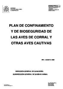 PLAN DE CONFINAMIENTO Y DE BIOSEGURIDAD DE LAS AVES DE CORRAL Y OTRAS AVES CAUTIVAS