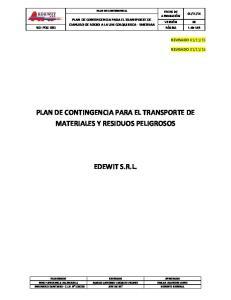 PLAN DE CONTINGENCIA PARA EL TRANSPORTE DE MATERIALES Y RESIDUOS PELIGROSOS EDEWIT S.R.L