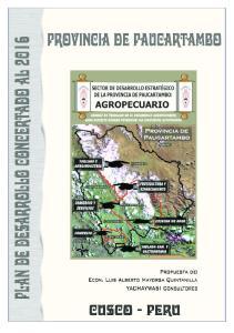 Plan de Desarrollo Concertado de la Provincia de Paucartambo al 2016